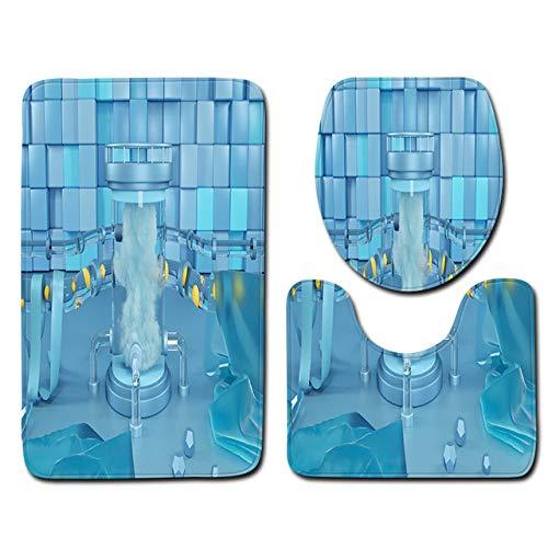 YSDDM Toilettenmatte,Badteppich Set 3tlg. Teppich Bad Rutschfester Teppich Bad WC-Sitzbezug Set Badteppich Badteppich, Y181006, C004