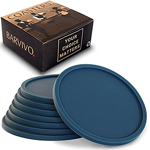 Dark Blue Drink Coasters by Barvivo Set of 8 - Tabletop Protection For Any Table Type, Wood, Granite, Glass, Soapstone, Marble, Stone Tables - Perfect Soft Coaster Fits Any Size of Drinking