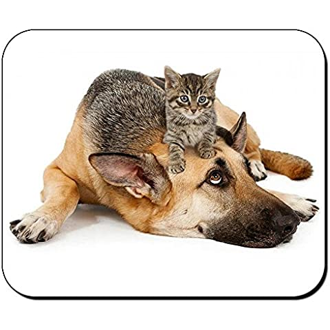 Pastor Aleman Con Gato German Shepherd With Cat 02 Tappetino Per Mouse Mousepad PC
