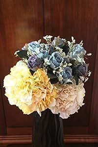 Artificiali Fiori di Seta Rosa Misto Arrangiamento, Decorazione dell'Hotel Casa Camera Nuziale (ortensia e rosa bianco, confezione da 2, ortensia e rosa giallo, confezione da 2, 5 rose di colore blu, confezione da 3)