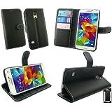 Emartbuy® Samsung Galaxy S5 Brieftaschen Wallet Etui Hülle Case Cover aus PU Leder Schwarz mit Kreditkartenfächern mit Weiß Stich