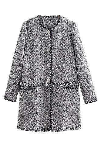 Le Donne Lungo Cappotto di Lana in Tweed Cappotti con Tasche Grey M