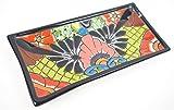 Mexikanische Handwerkskunst: Servierplatte eckig, handbemalt, hellgrün