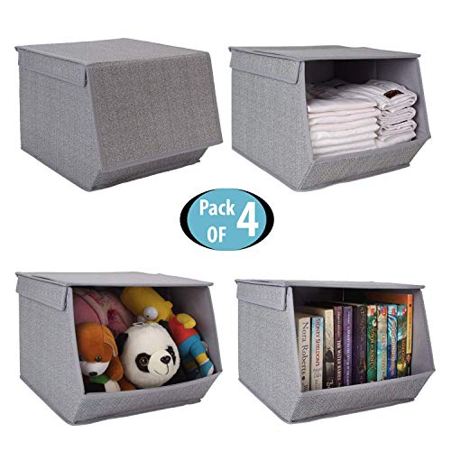 HomeStorie® Non-Woven Fabric Storage Organizer Box with Lid, Small, 25 x 35 x 24 cm (Pack of 4)