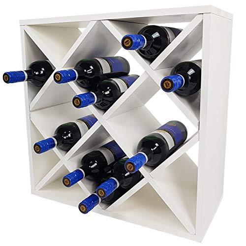 SunDeluxe Weinregal Bacchus XX-Cube - Flaschenregal 52 x 52 x 25 cm mit X-Form - Weinständer für bis zu 24 Flaschen, Farbe:Weiß