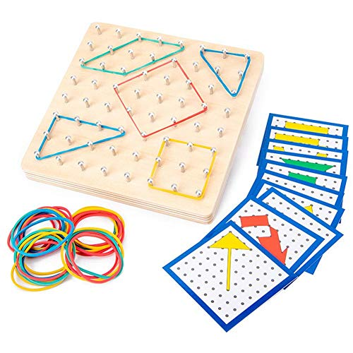 Zihui Montessori Wooden Geoboard Mathematical Manipulative Array Block Geo Board With 24PCS Activity Pattern Cards And Latex Bands 8x8 Rubber Bands Matrix Inspire Kid's Imagination And Creativity