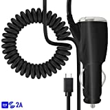 Schwarz USB C TYPE C SCHNELLE CHARGE 2000 mAh Tangle Proof In Car Charger Für Samsung Galaxy S8 Plus 2017