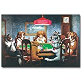 LIEFENGDAO Hunde Spielen Poker Karten Art Silk Stoff Poster Drucken 13 X 20 20 X 30 Zoll Lustige Bilder Home Wall Decor, 12 X 18