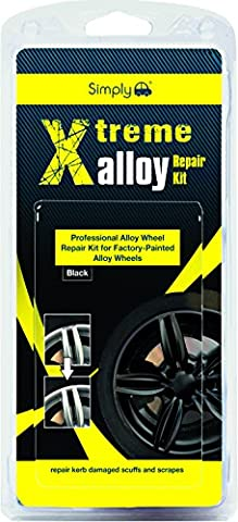 Simply XAWR2 Xtreme Alloy Wheels Repair Kit, Colour Black, 11 Pieces Set, Repair Kerb Damaged Scuffs and Scrapes with Easy & Full Instruction for factory-painted alloy