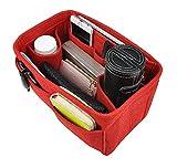 APSOONSELL Taschenorganizer Organisator Einsatz aus Filz Einsatz 10 Fächer Rot Groß