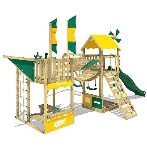 WICKEY Juegos de jardin Smart Wing Parque infantil dirigible con vela y élice red para trepar cajón de arena, tobogán verde + lona verde amarillo