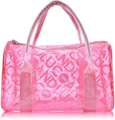Lucky Will Mujer Mujeres Verano clara transparente bolso bolsa de playa badetasche transparente bolsillos rosa