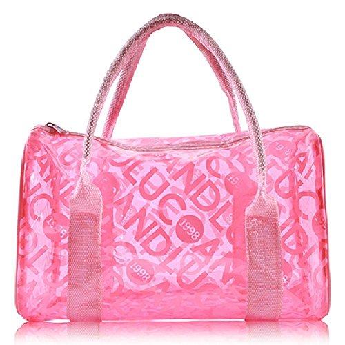 Sommer Transparent Handtasche Klare Beutel Strandtasche Wasserdicht Kulturbeutel Make Up Tasche Rosa