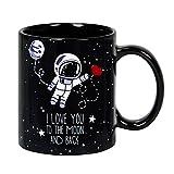 """Taza mug desayuno de cerámica negra 32 cl. """"Te quiero hasta la luna y más allá"""" idioma inglés modelo To the Moon"""