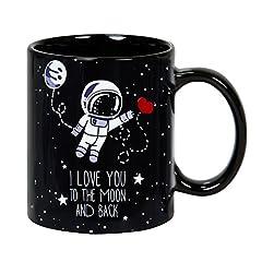Idea Regalo - Tazza da colazione 32 cl. in ceramica nera con messaggio in lingua inglese design To the Moon and Back