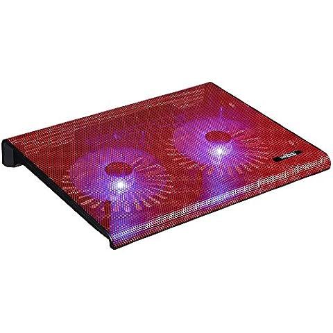 """Base de refrigeración y soporte para portátil y vídeo-consolas con diseño elegante, 2 ventiladores con luz led, Laptop Cooling Pad 2 conexiones USB (10"""" - 17"""