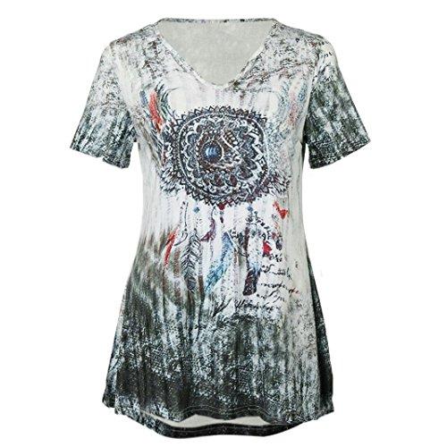 MRULIC Neue T-Shirt mit Bändern Beliebte Skull Head Muster Bluse für Damen Sommer Sweatshirt(S-Grün,EU-50/CN-5XL) (Neue Shirt Davidson Harley Tops)