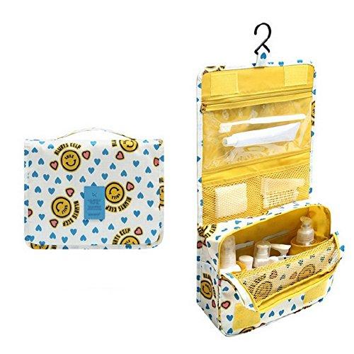Vimeet Wasserdicht Make-Up Taschen Kulturtasche Reise Kulturbeutel Kosmetiktasche Zum Aufhängen Waschtasche Gelber smiley