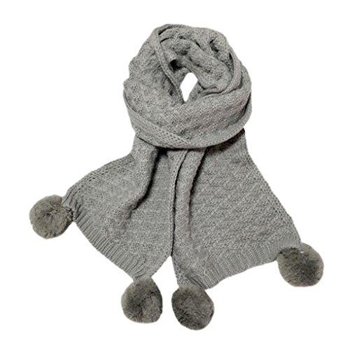 sunnymi 2-12 Jahre Alt Warmen Pure Farbe Stricken Kinderschal Baby Jungen Mädchen Unisex Herbst Winter 150cm (150cm, Grau) (Textur Rock Stricken)