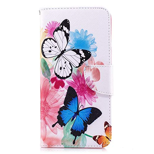 CoverKingz Handyhülle für LG Q Stylus Book Cover Schutzhülle mit Schmetterling Aufdruck - Handytasche Butterfly Kartenfach Hülle