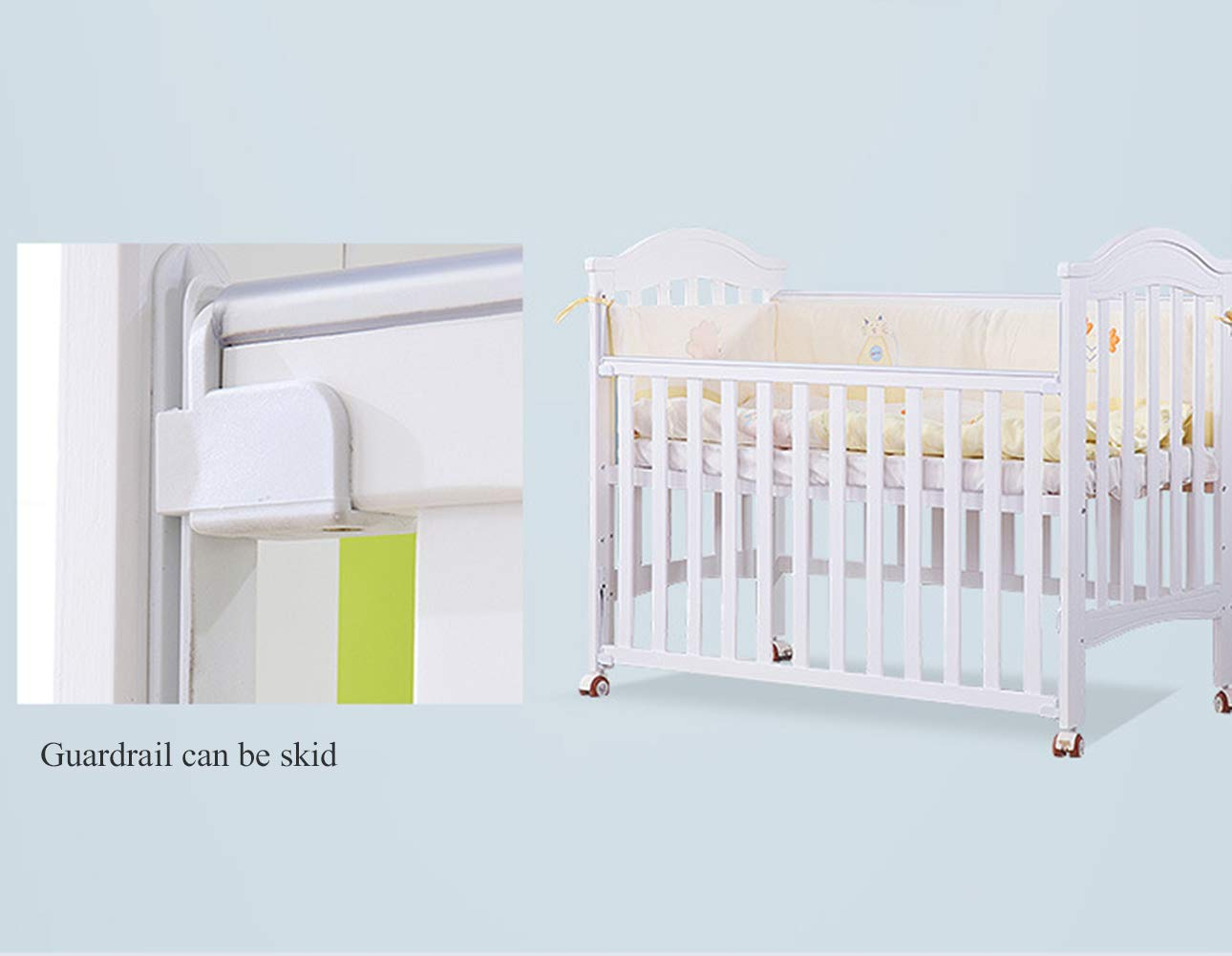 XUNMAIFLB Removable Solid Wood Baby Cot Bed, Multifunctional, Baby Bed/children's Bed/Game Bed with Roller (inner Diameter: 1200 * 600mm) Safety XUNMAIFLB Can be spliced with the big bed, convenient for the mother to take care of the baby's full water bed board, real material, no blister, no insects, tight structure, texture and tough and delicate. Rugged and durable: the wood is durable, oil-free, non-discoloring, and does not crack, increasing the life of the bed. Strong load-bearing solid wood bed: widened thick row skeleton + moon boat coconut palm mattress static load capacity 50kg. 5