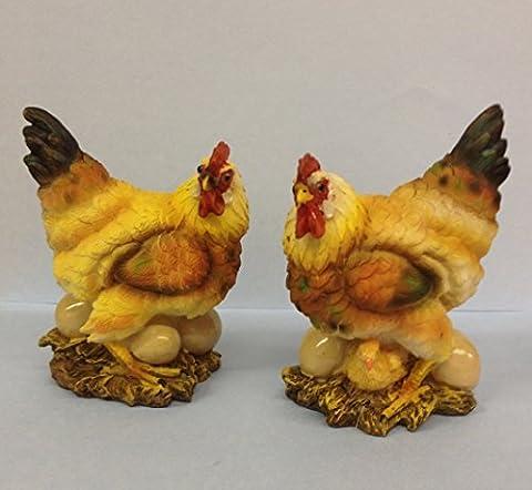 Pair Of Farmyard Hens Decorative