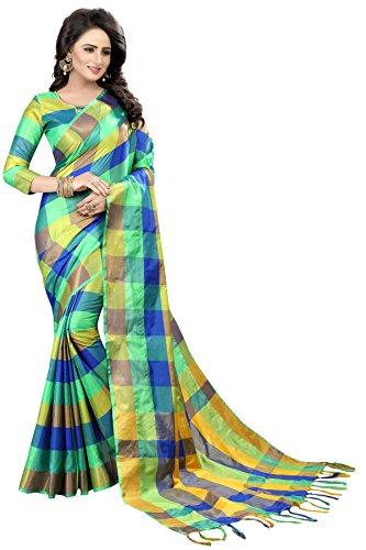 Perfectblue Women's Cotton Silk Saree With Blouse Piece(Lightgreenbluesmallcheck_Light Green Blue_Free Size)