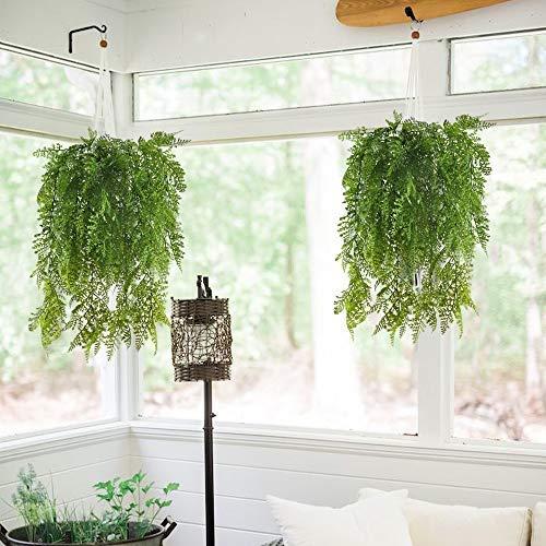 LEEQ Künstliche Kletterpflanzen, Adiantum, künstliche Farne, für drinnen und draußen, Grün, 2 Stück