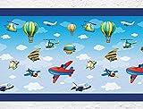 I-love-Wandtattoo b-02-006 Kinderzimmer Bordüre Flugzeuge Hubschrauber Kinderdeko