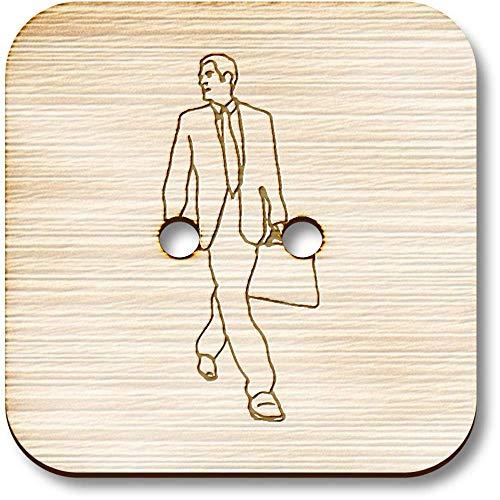 Azeeda 8 x 23mm \'Uomo con la Valigia\' Bottoni Quadrati in Legno (BT00004553)