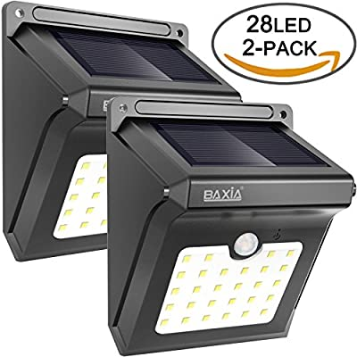 BAXiA Bright 28 LED Wireless Outdoor Waterproof Solar Powered Motion Sensor Security Wall Lights for Door, Driveway, Garden, Patio, Yard(2 Packs) produced by BAXiA - quick delivery from UK.