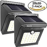 BAXiA Bright 28 LED Wireless Outdoor Waterproof Solar Powered Motion Sensor Security Wall Lights for Door, Driveway, Garden, Patio, Yard(2 Packs)