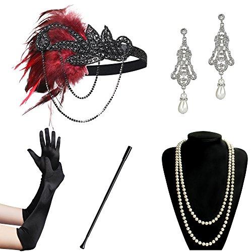 ArtiDeco 1920s Flapper Set Damen Gatsby Kostüm Accessoires Set Inklusive Stirnband Halskette Handschuhe Ohrringe Zigarettenhalter (Set-4)
