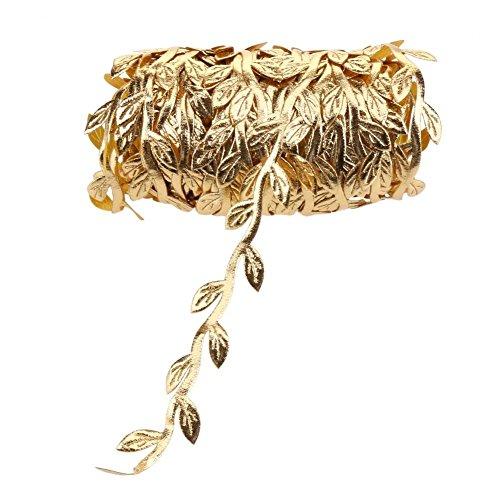 demiawaking 10m Leaf Vine Girlande Satinband Trim künstlichen Blättern Zuhause Hochzeit Weihnachten Dekoration String gold
