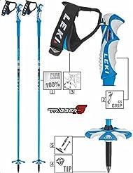 LEKI Bird Bastones de esquí para adultos, color negro, unisex, Skistock Blue Bird Carbon, Base Color: Blue/ Design: Dark Blue-White, 125 cm