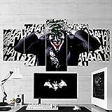 Art Mural de Jeu, Batman Joker Laugh, Batman Joker Toile Murale, Batman Multi Panneaux, Art Mural, 5 pièces, Toile de Jeu, Décoration Murale, encadrée prête à accrocher. X-Large 79'x40'