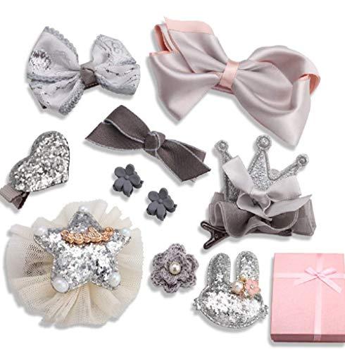 Lomire 10Pcs des pinces à cheveux pour bébés, épingles à cheveux d'un style de nœud papillon pour les petites filles - accessoires mignons pour les bébés ou les petites filles (Gris)