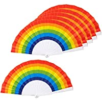 Basage Rainbow Fans-Pack Of 6-Rainbow Party Supplies For Rainbow-Themed Parties And Lgbt Or Gay Pride Events,9.25x1.25x0.75 Inches