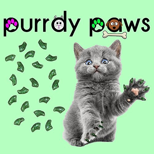 40er Soft Nail Kappen für Katzen Krallen grün glitter * purrdy Pfoten Marke (Katze Krallen Kostüm)