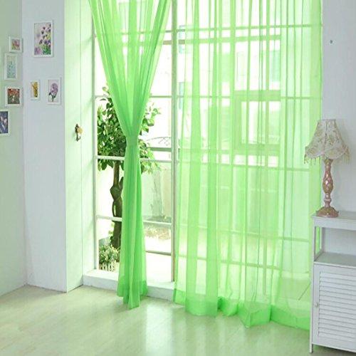 erthome 1 PCS Tulle Tür Fenster Vorhang Pure Color Drape Panel Sheer Schal Volants (Grün (2 Stück), 270cm x 100cm (108