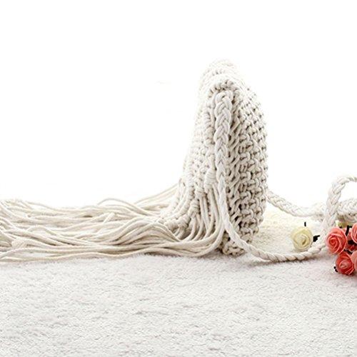 Honeymall Art und Weise gesponnene Schultertasche mit Reißverschluss Quaste Stroh-Sommer-Frauen Webart Umhängetasche Beach-Handtasche Weiß Weiß