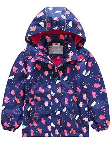 Echinodon Mädchen Gefütterte Outdoorjacke Wasserdicht/Winddicht/Warm Regenjacke Funktionsjacke Kinder Wanderjacke Jacke Blau*