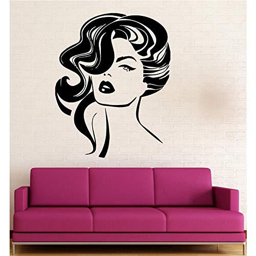Dekoration Wandaufkleber Vinyl Aufkleber Sexy Mädchen Frisur Mode Schönheitssalon Aufkleber 41 * 64 Cm