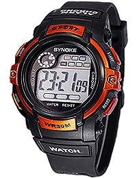 b9c100d31736 Reloj de nino - SYNOKE Reloj de pulsera de Fecha Dia Alarma de multifuncion  Naranja