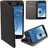 Moozy® Flip cover Funda tipo libro Smart magnética con Stand plegable para Samsung i9300 Galaxy S3 / S3 Neo i9301 en el soporte de silicona, Negro Frc
