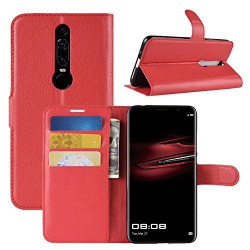 HualuBro Huawei Mate RS Hülle, Leder Brieftasche Etui LederHülle Tasche Schutzhülle HandyHülle [Standfunktion] Leather Wallet Flip Case Cover für Huawei Mate RS Porsche Design (Rot)