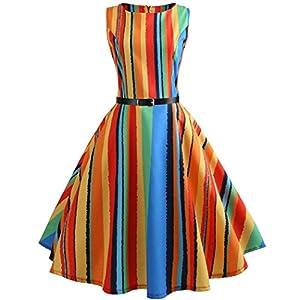 Vestito da Donna Fami Womens Vintage Nota Musicale Stampa Aderente Senza Maniche Casual Partito di Promenade Swing Dress