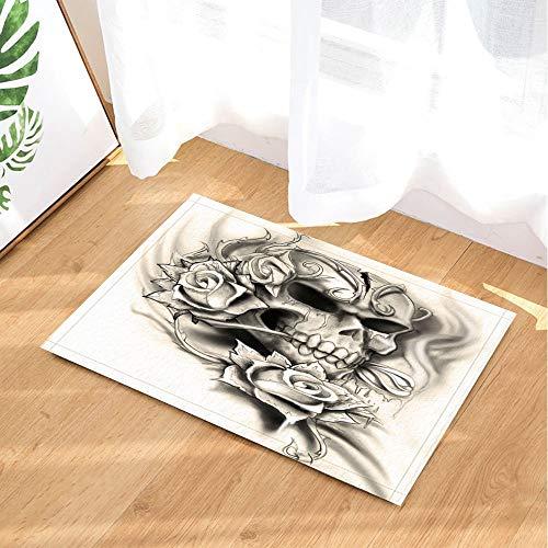 fdswdfg221 Gothic Bad teppiche Dunkelheit smog Sand skulptur schädel und Rose romanze und Tod 40x60 cm Bad Matte zubehör