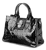 Italienische Henkeltasche Handtasche Damen Handtaschen Tragetasche edel Kelly echt Leder Taschen inkl. Trageriemen Farbwahl lack schwarz, 36,5x24x18 cm (B x H x T)