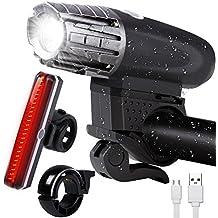 Set luce bici, ricaricabile bicicletta LED fanale posteriore luminoso con mini campanello da bici per bambini, unisex ciclismo faro anteriore e posteriore luce di sicurezza di accessori torcia